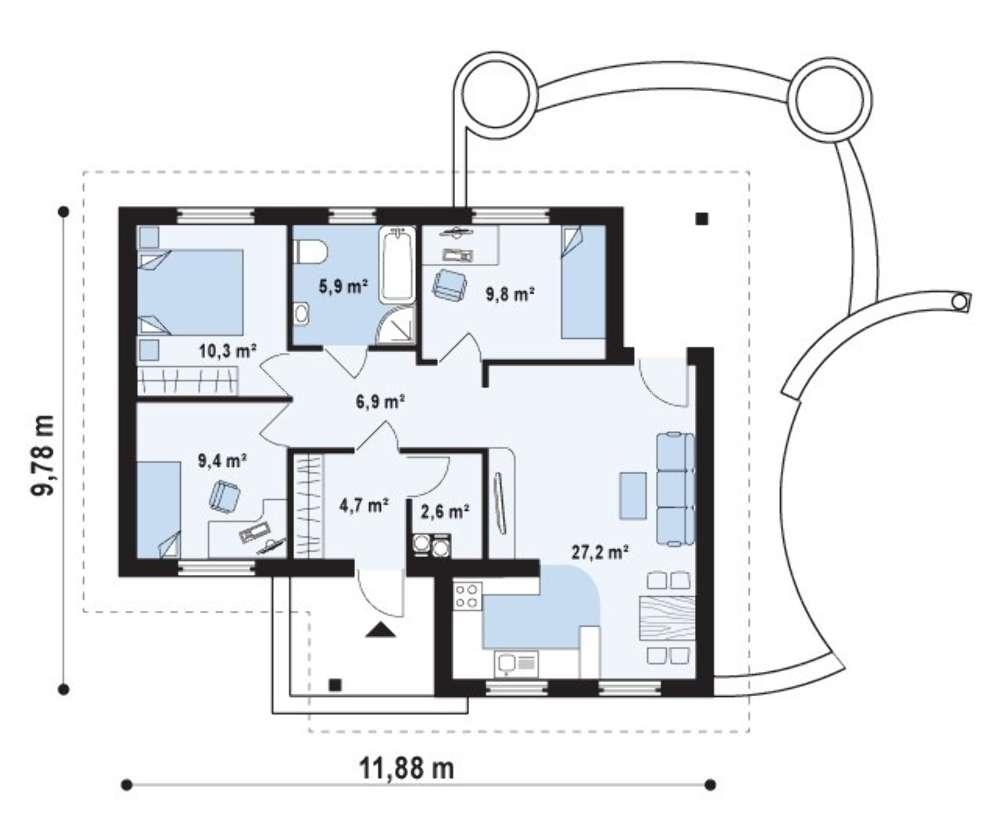 Стоимость дома базовой комплектации - 1131 т.р. 1 санузел