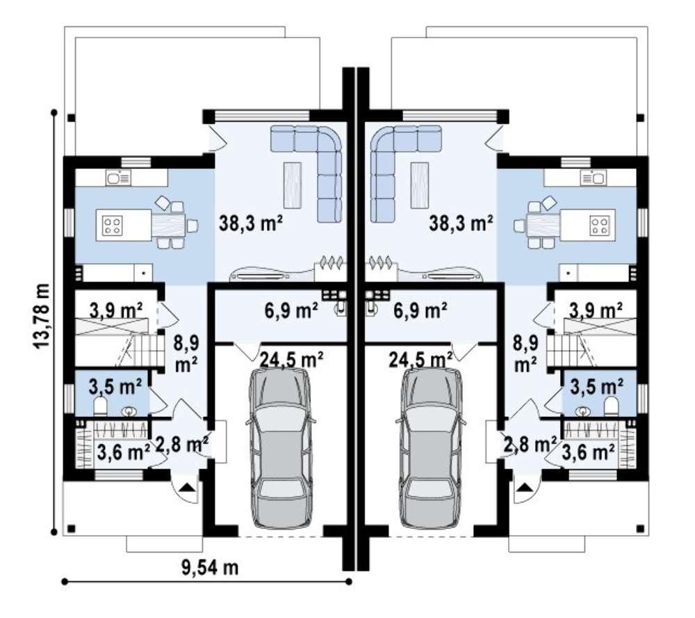 план-схема индивидуального дома с печным