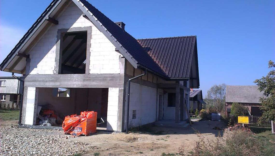 Проект двухэтажного дома с двускатной кровлей