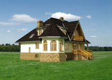 Величавый особняк с круглым угловым эркером