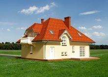 Планировка двухэтажного дома площадью 177 кв. м, включающая гостиную зону и пять спален