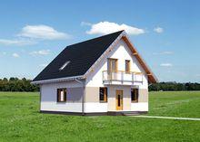 Компактный загородный особняк с мансардой и большой гостиной