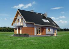 Архитектурный проект прекрасного дома с мансардой и террасой