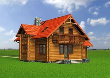 Проект оригинальной деревянной усадьбы с балконом и мансардой