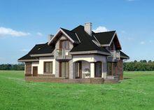Замечательный загородный особняк с полукруглыми балконами