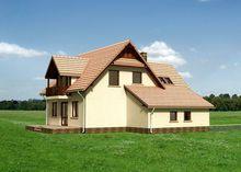 Привлекательный проект дома 170 m² с мансардой и гаражом на 1 машину