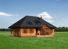 Яркий особняк с мансардной крышей