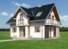 Традиционный проект коттеджа с мансардой до 150 m²