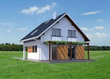 План двухэтажного загородного коттеджа под двускатной крышей