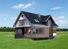 Проект особняка с мансардой со строгим фасадом