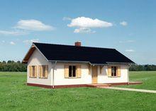 Проект интересного одноэтажного коттеджа с двумя спальнями