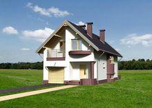 Симпатичный дом с балконом и встроенным гаражом