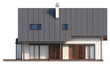 Проект дома с мансардой, гаражом, кабинетом на первом этаже и эркером