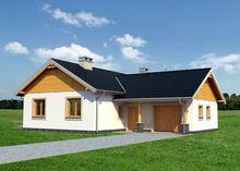 План дома площадью 118 кв. м с уютной гостиной и действующим камином.