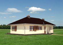 План европейского дома площадью 130 кв. м с открытой террасой фигурной формы
