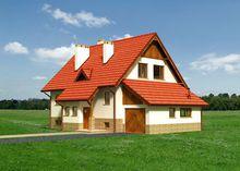 Проект коттеджа с мансардой в деревенском стиле