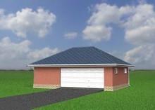 Проект гаража на один автомобиль с многоскатной крышей