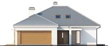 Проект одноэтажного классического дома с гаражом и мансардой