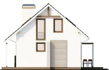 Проект белого дома с мансардой, выполненного в классическом стиле