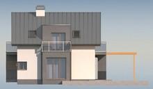 Проект современного стильного коттеджа с эркером и необычным балконом
