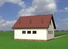 Проект гаража для двух автомобилей с мансардой и балконом