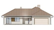 Проект одноэтажного коттеджа с чердаком и угловой террасой