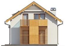 Проект коттеджа с мансардой и гаражом для узкого участка