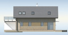 Проект коттеджа для узкого участка, с гаражом и террасой над ним