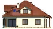 Проект коттеджа с гаражом, эркером, мансардой с красивыми окнами
