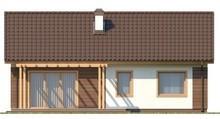 Проект простого одноэтажного коттеджа, выполненного в классическом стиле с двускатной кровлей