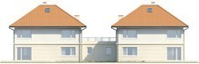Проект двухэтажного дома на две семьи с террасой над гаражом