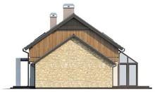 Проект дома с террасой с большими окнами