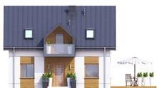 Проект современного мансардного дома с красивым балконом