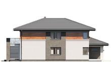 Двухэтажный современный дом, декорированный стеклом и камнем