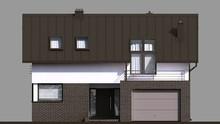 Современный двухэтажный дом с кирпичным декором первого этажа