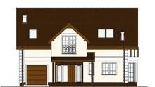 Схема стильного двухэтажного дома с эркером и просторной летней площадкой