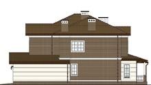 Двухэтажный особняк с большим гаражом и гостиной уникальной планировки