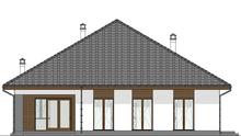 Схема компактного одноэтажного дома на четыре спальни и гаражом на два автомобиля