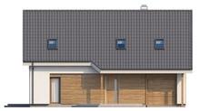 Проект дома с гаражом и большим мансардным окном