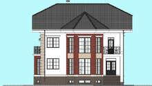 Планировка роскошного двухэтажного коттеджа с цокольным этажом, площадь в 322 кв. м