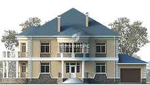 План огромного особняка площадью 430 кв. м с полукруглыми эркерами и балконами