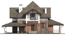 Проект дома в два этажа площадью 155 кв. м с многоуровневой кровлей сложной формы