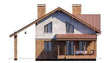 План коттеджа в два этажа площадью 158 кв. м с террасой и балконом