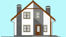 Схема современного коттеджа площадью 135 кв. м с просторной гостиной