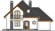 Красивый коттедж с полукруглыми балконами и террасами