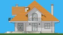 План стильного дома в три этажа площадью 316 кв. м с полукруглыми балконами