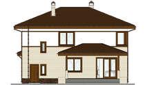 Двухэтажный дом с кирпичным декором первого этажа