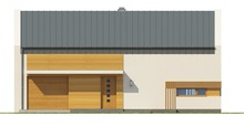 Проект дома с мансардой, большими красивыми окнами в гостиной