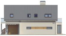 Проект коттеджа с гаражом, стеклянным эркером и балконами