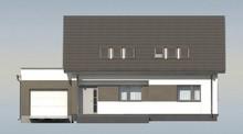 Проект одноэтажного коттеджа с мансардой и большим фронтальным окном в гостиной
